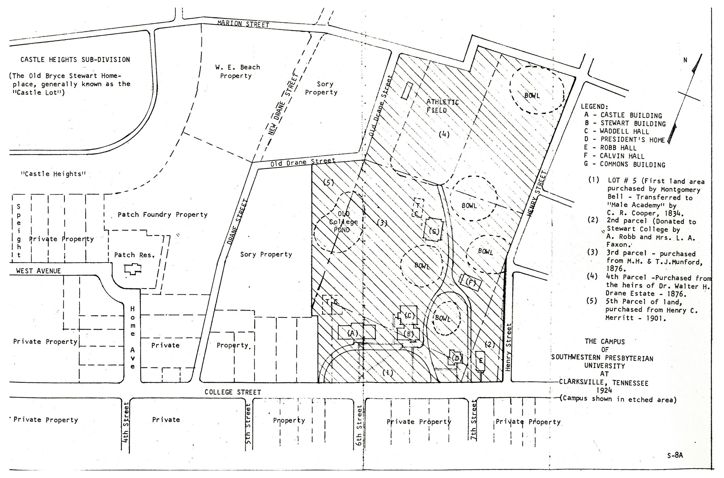 Rhodes College Digital Archives Dlynx Clarksville Campus Map