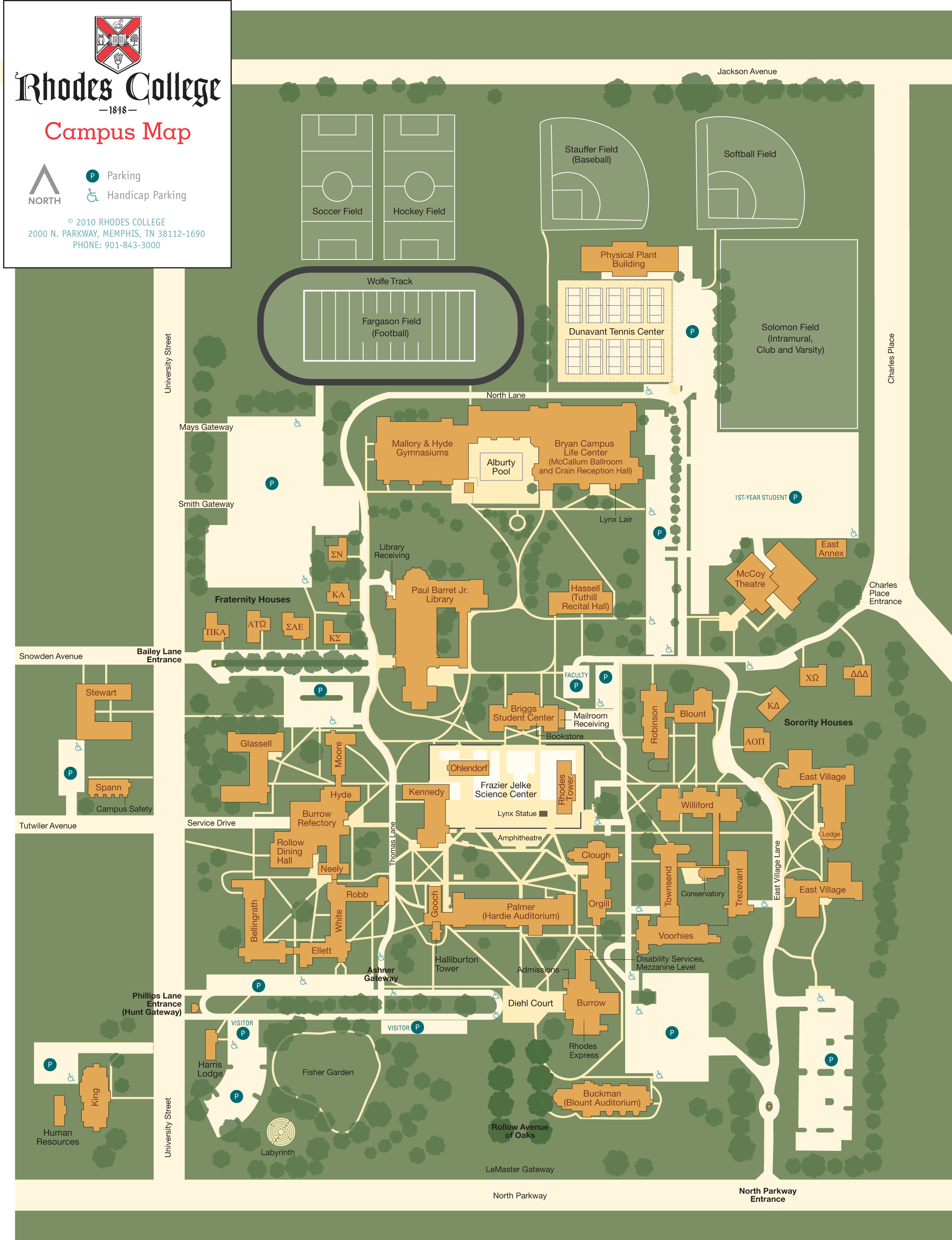 Rhodes College Digital Archives Dlynx Rhodes Campus Map