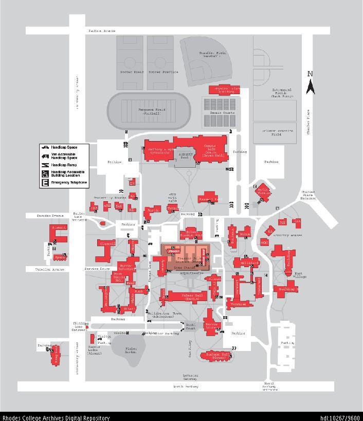rhodes college campus map Rhodes College Digital Archives Dlynx Campus Map 2003 rhodes college campus map