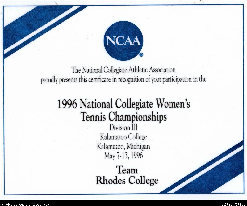 certificate 1996 tennis ncaa division rhodes champions iii champs athl conf dlynx college handle