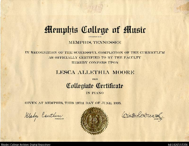 Rhodes College Digital Archives - DLynx: Certificate awarded from ...